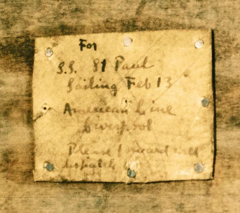 """For SS St. Paul.  Sailing February 13th.  American Line.  Liverpool.  Please forward with dispatch."""