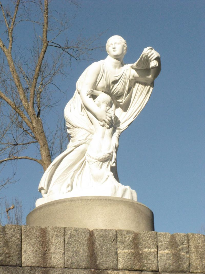 The Statue of Niobe, restored by resident Adam Nudd-Homeyer in 2012 and watches over the town