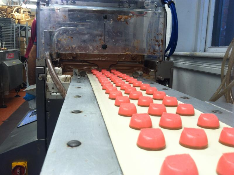 "Strawberry Creams on their way into the ""enrober"" where they will get a chocolate shower ..."