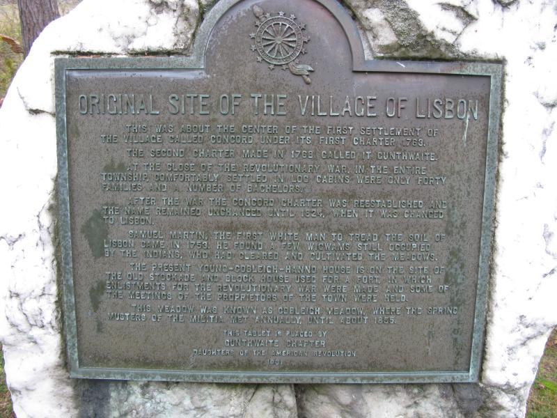 Plaque denoting the original site of the Village of Lisbon