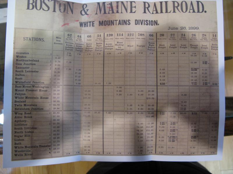 Old schedule of the Boston & Maine Railroad that passed through Lisbon