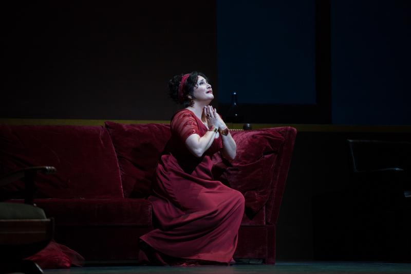 "Patricia Racette as the title character in a scene from Act II of Puccini's ""Tosca."""