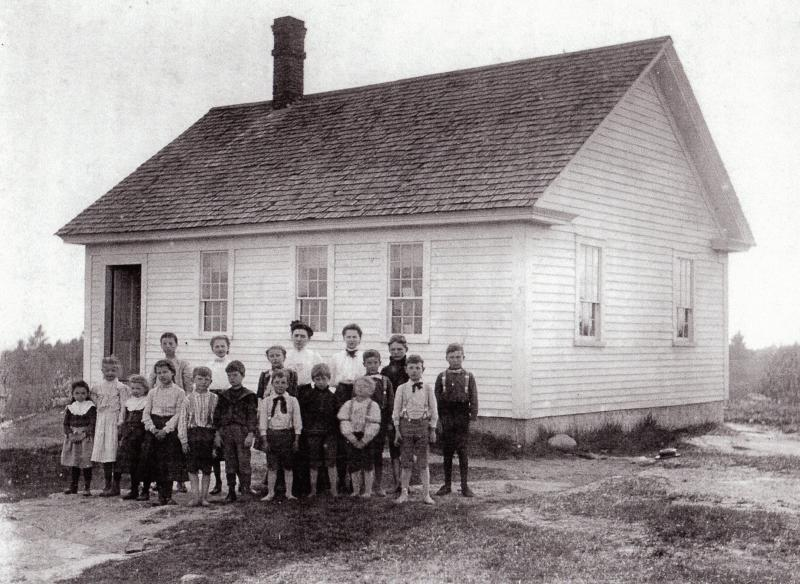 Old photo of the Old Candia Schoolhouse now at Old Sturbridge Village
