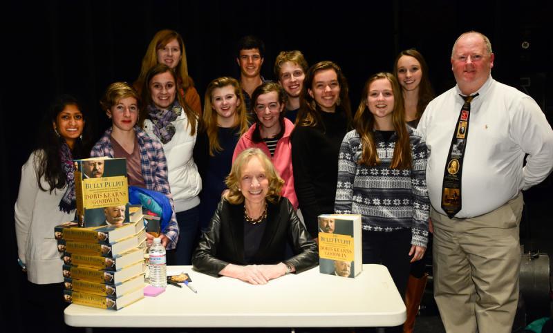 Doris Kearns Goodwin signing books backstage.