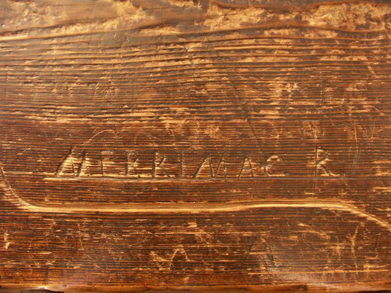 Graffiti on a desk in the Old Candia Schoolhouse now at Old Sturbridge Village
