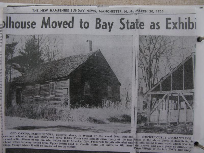 Article annoucing the moving of the Old Candia Schoolhouse to Old Sturbridge Village