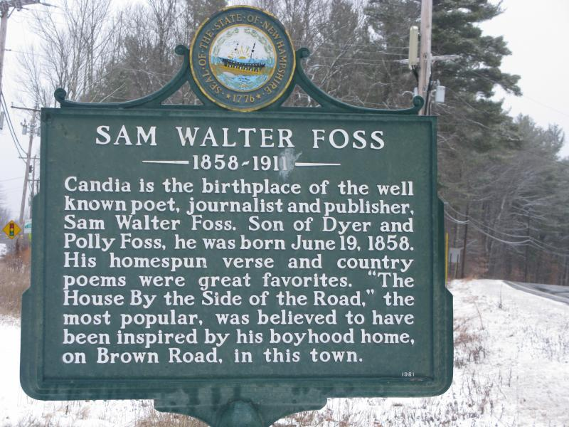 Historical Marker recognizing the Candia born poet, Samuel Walter Foss