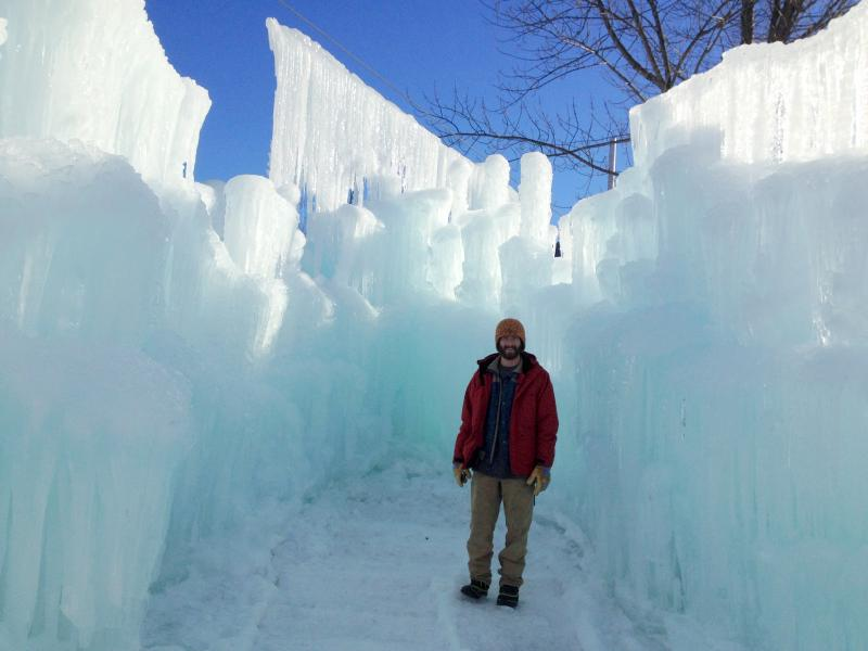 Cory Livingood stands in a potential ice throne location.