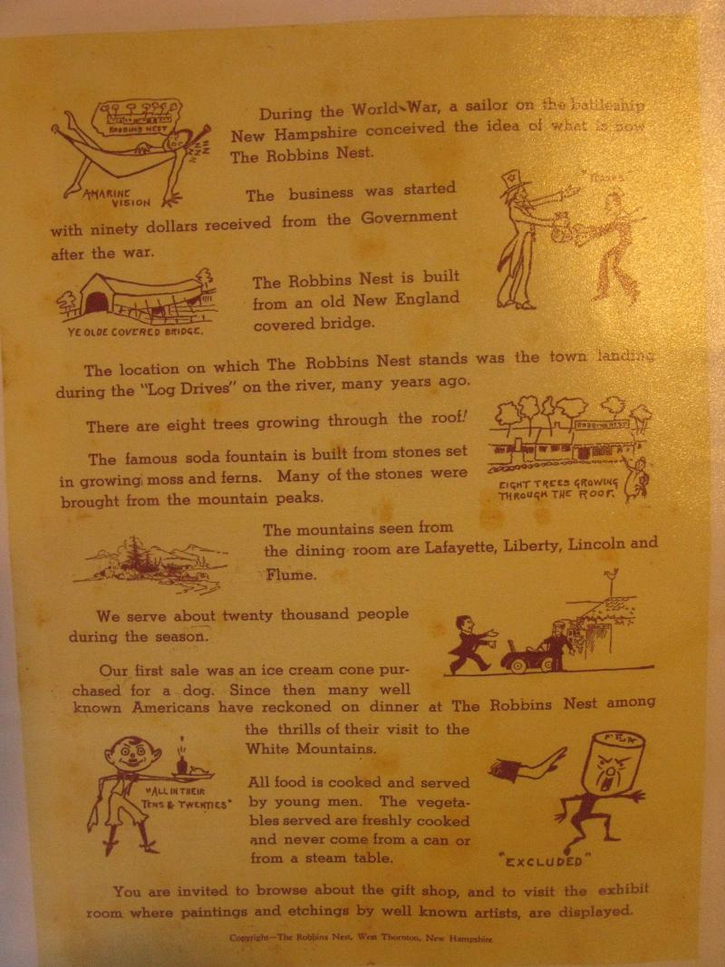 An old pamphlet of the popular resort stop called 'The Robbin's Nest' in Thornton