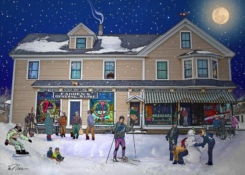 Painting of the Fadden General Store in Woodstock