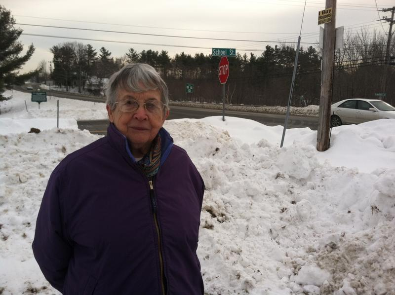 Joann Bailey at the site of the state first turnpike in Northwood.