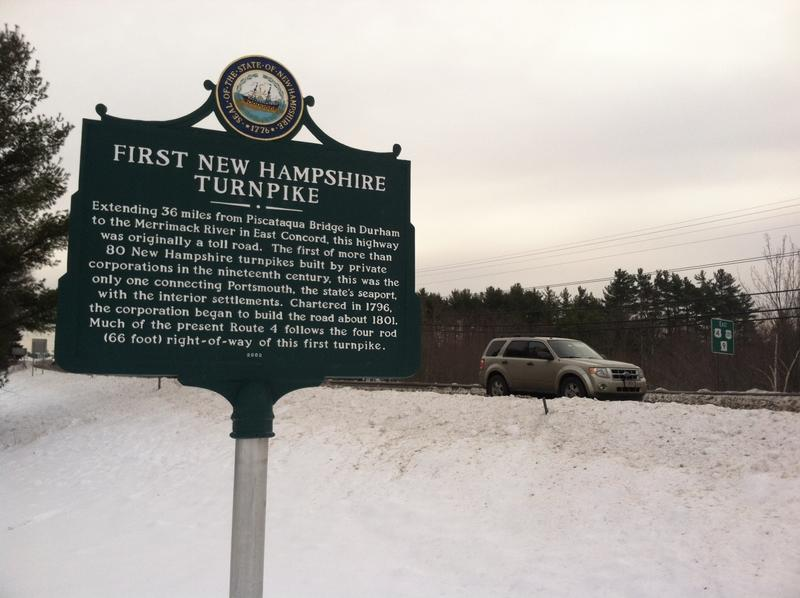 This historical marker stands along Route 4 in Northwood.