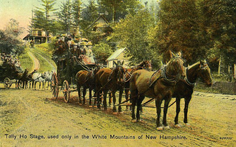Postcard showing a stage coach taking Woodstock visitors to the White Mountains