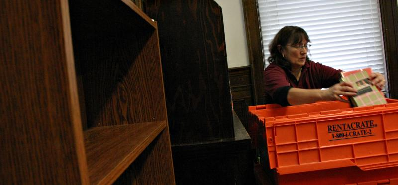 Diane Pikul of National Library Relocation supervised the move, which she estimated involved 4,000 pounds of material.