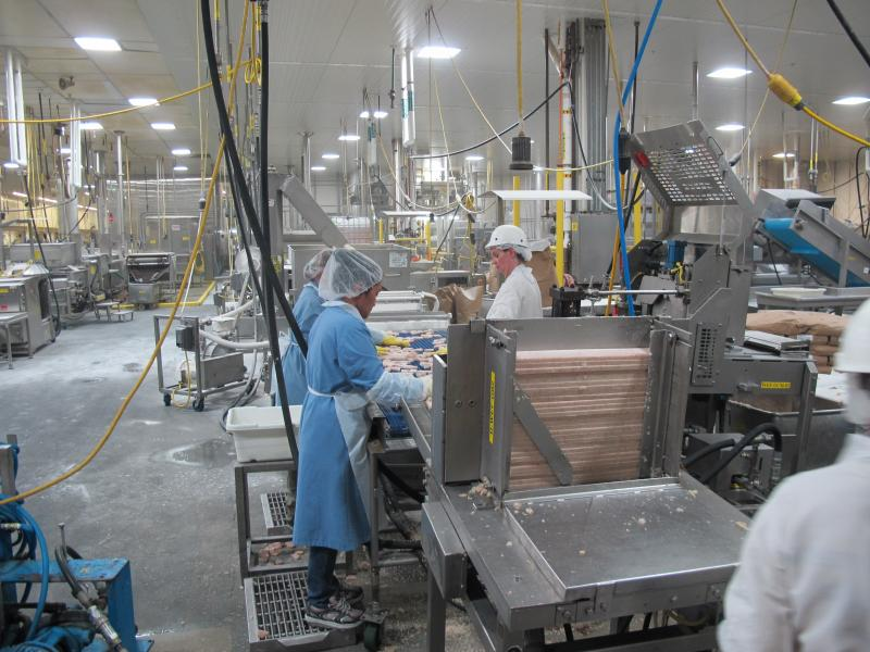 On one assembly line, High Liner Foods produces fish bites from blocks of minced and frozen fish.