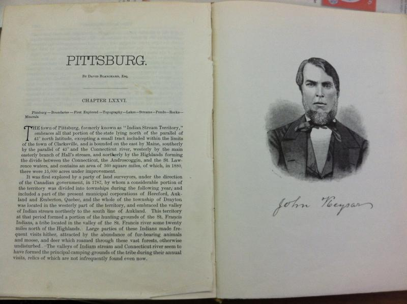 A book in the Pittsburg School Library discusses the history of the town and the Republic of Indian Stream.
