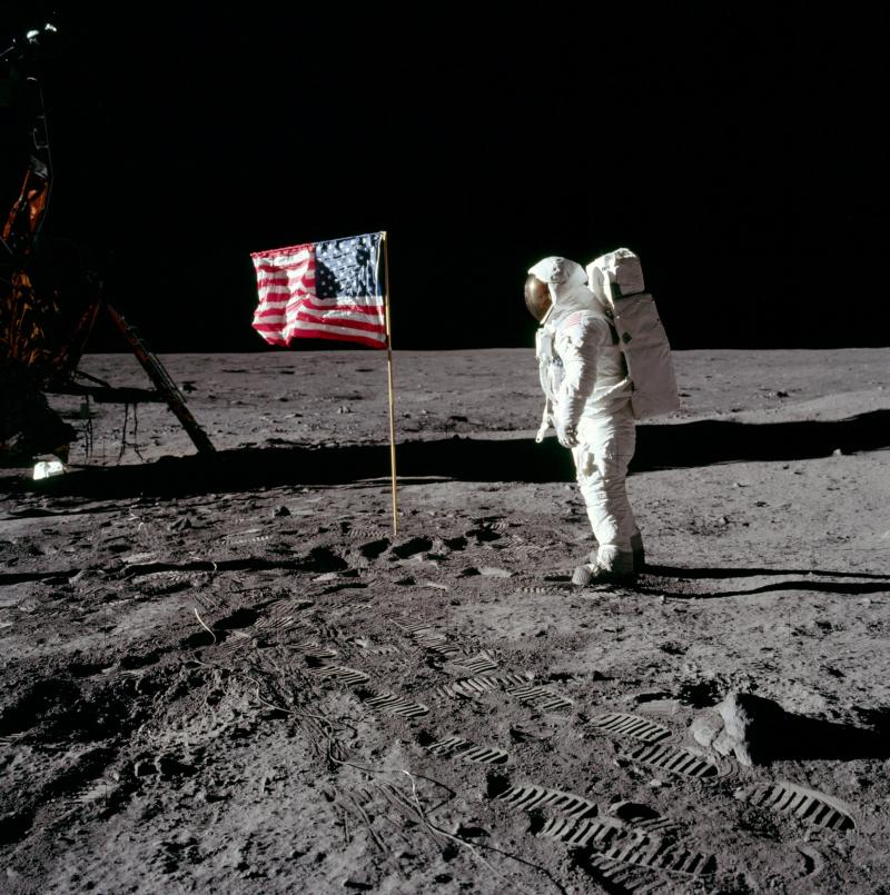 Flag left on the moon