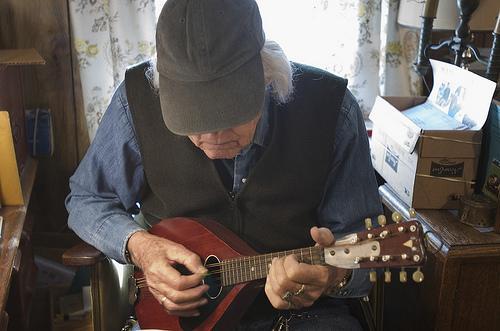 Bob McQuillen at home in Peterborough