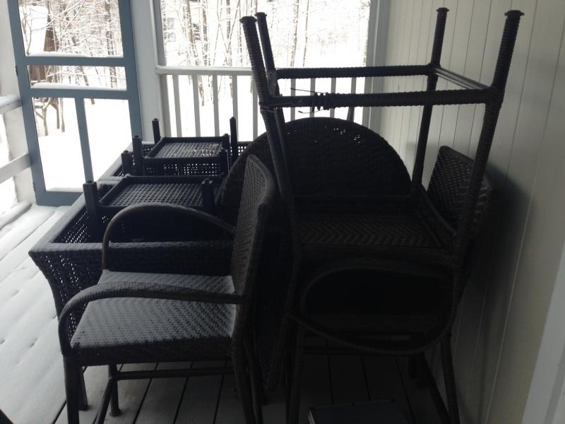 Let's not neglect Snow Covered Screen Porch Furniture!