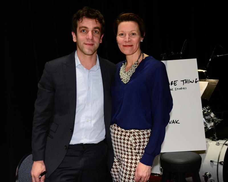B.J. Novak and Virginia Prescott, backstage at The Music Hall