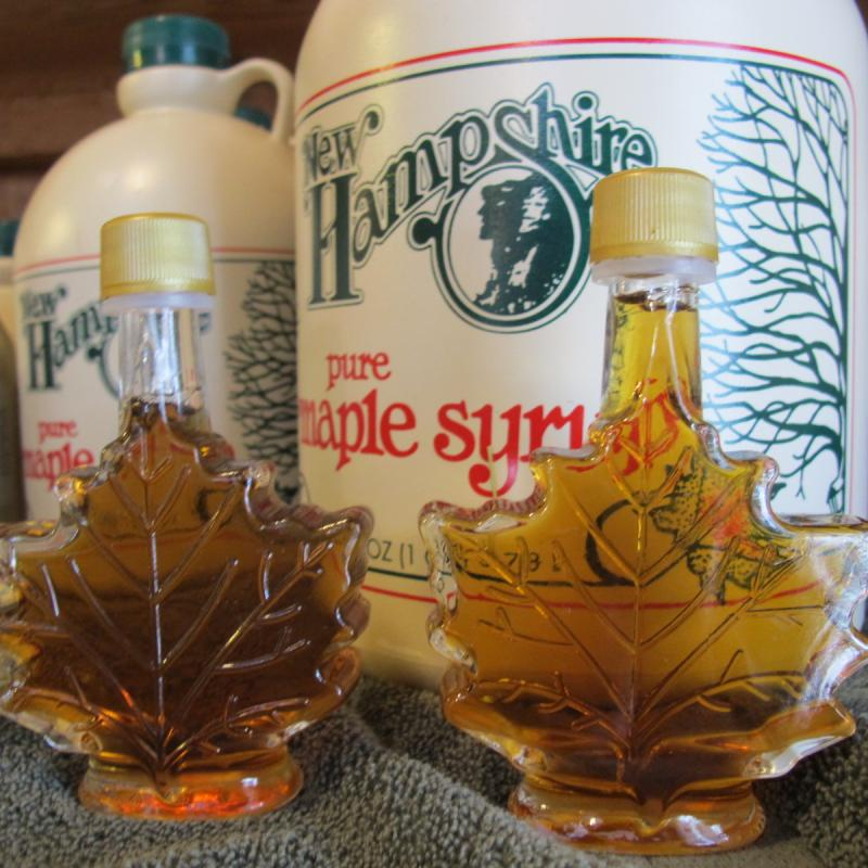 Maple syrup for sale.  So far, only medium amber syrup is flowing at the shack.