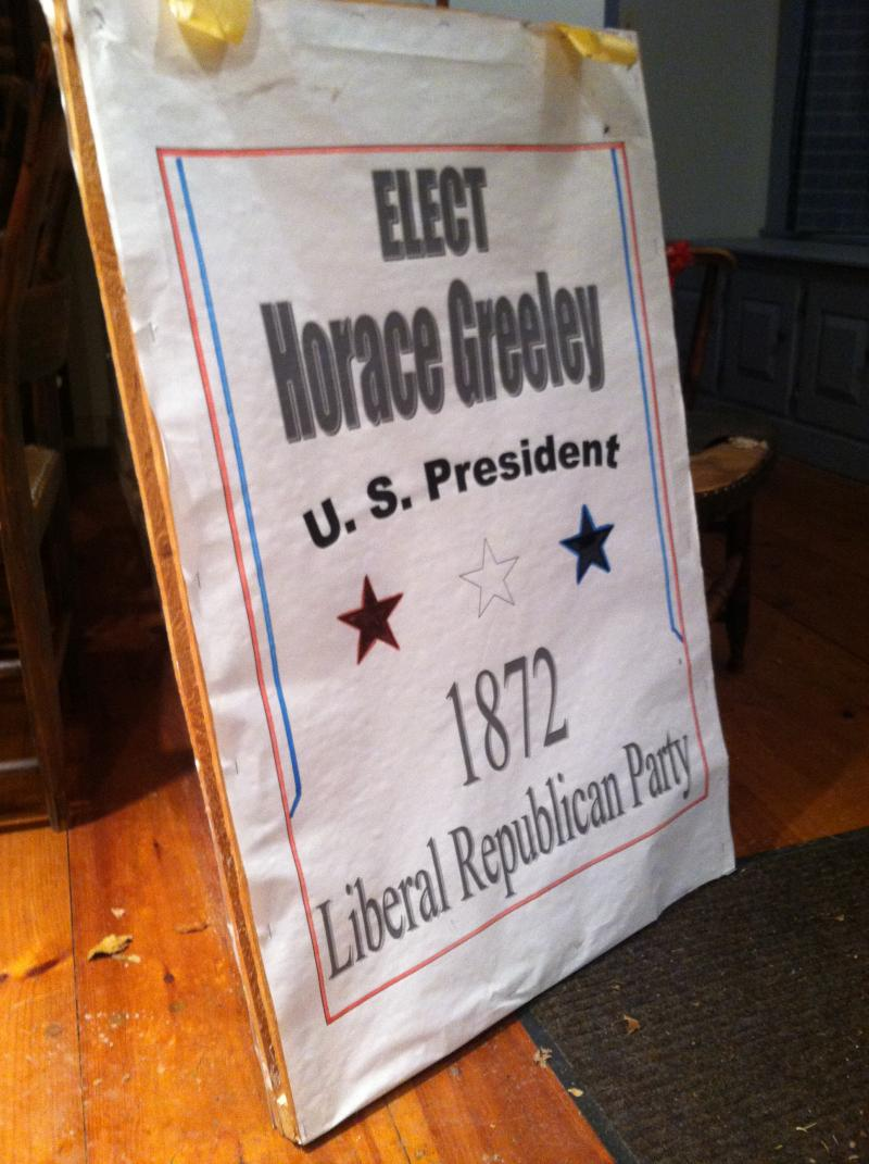 This is the sign worn in the town of Amherst parade to remember Horace Greeley.