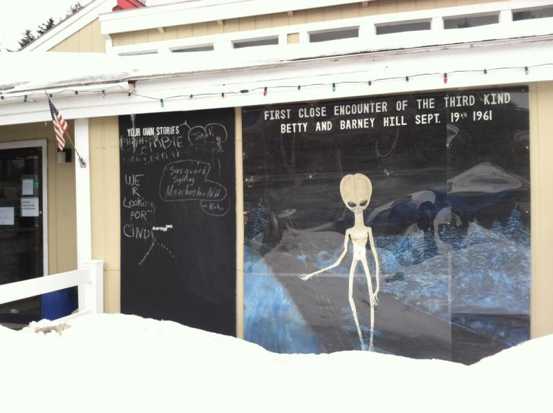 This mural is on the outside of gas station in Lincoln, just off I-93.