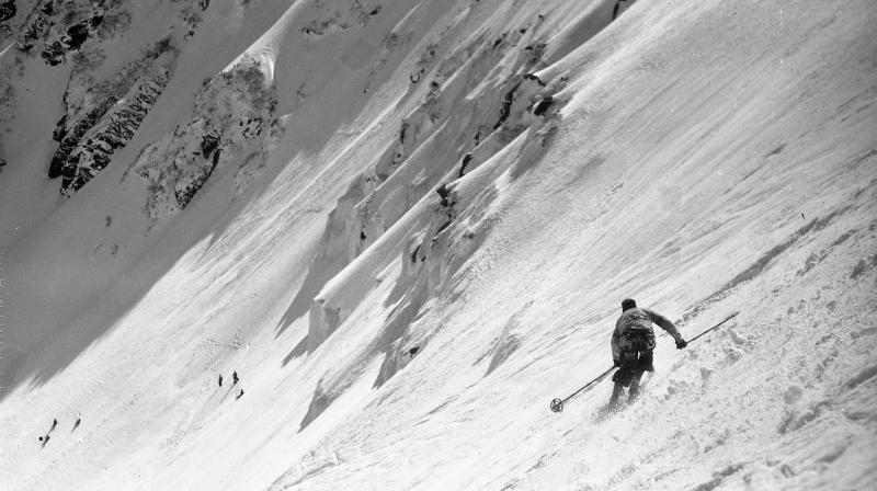 A racer on the headwall in 1934 American Inferno, a race from the top of Mt. Washington to bottom passing through the ravine.
