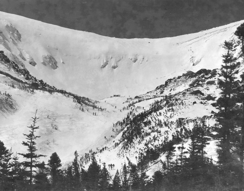 "Tuckerman Ravine on 4-16-1939, day of 3rd American Inferno, when Toni Matt made his famous ""schuss"" of the headwall. The bowl is what's known as a cirque, carved out of the side of the mountain by the glaciers of the last ice age."