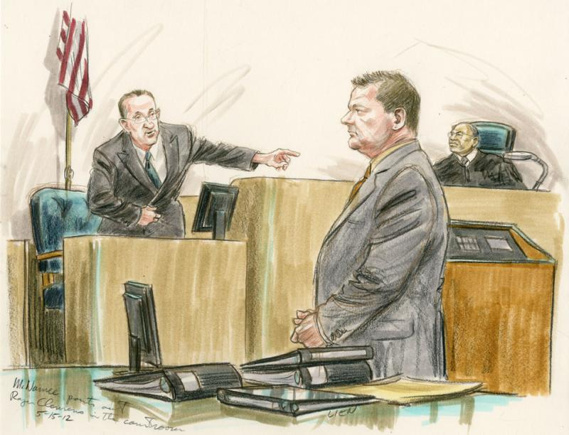 McNamee points out Roger Clemens in the courtroom. 5.15.12