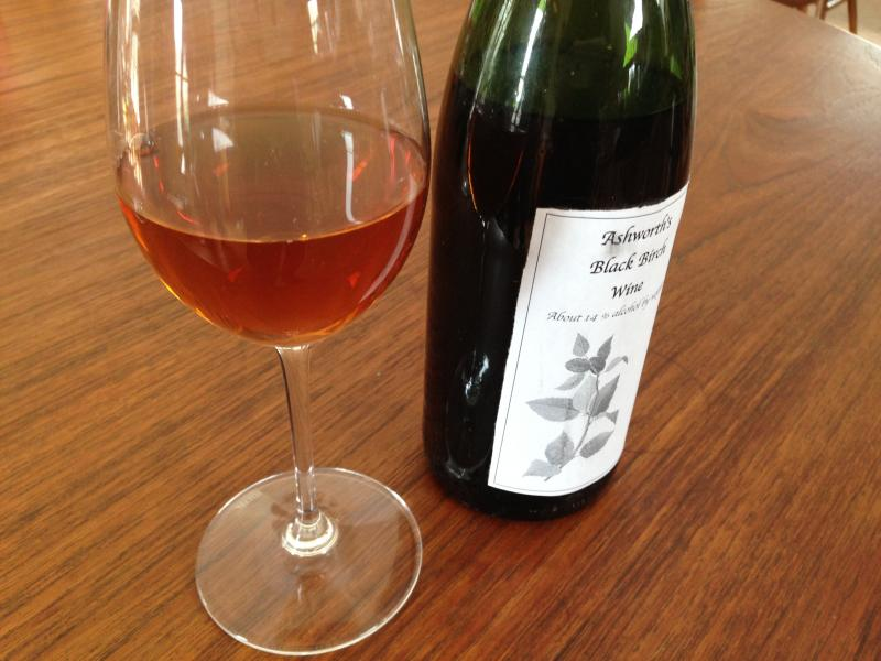 "This rosey black birch wine, Ashworth says, is really a ""cordial"" since he added grain alcohol to the initial product which he found to be too sweet."