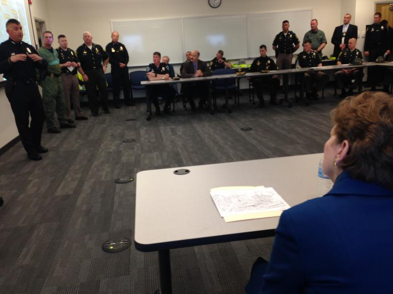 Shaheen watches a presentation outlining N.H. SWAT Teams' involvement in the Watertown sweep following the Boston Marathon Bombings last year.