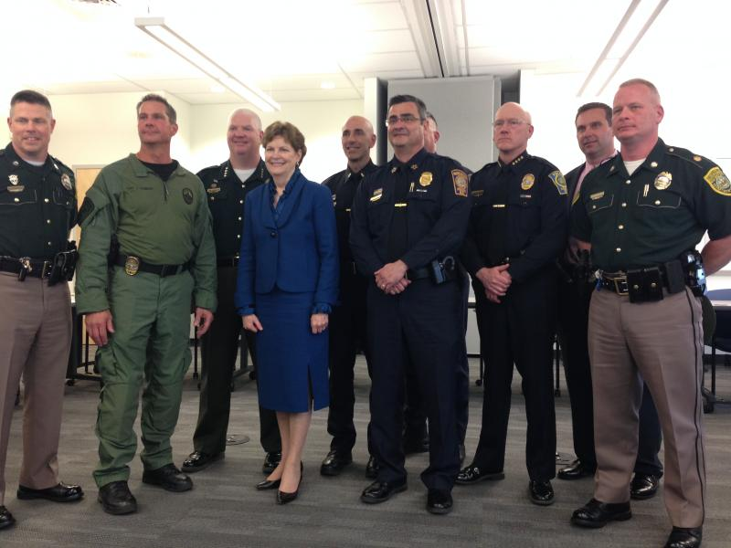 Shaheen with police chiefs and tactical team leaders involved in the joint efforts in Massachusetts .