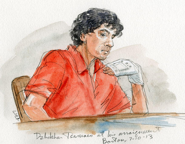 Dzhokhar Tsarnaev at his arraignment, Boston. 7.10.13