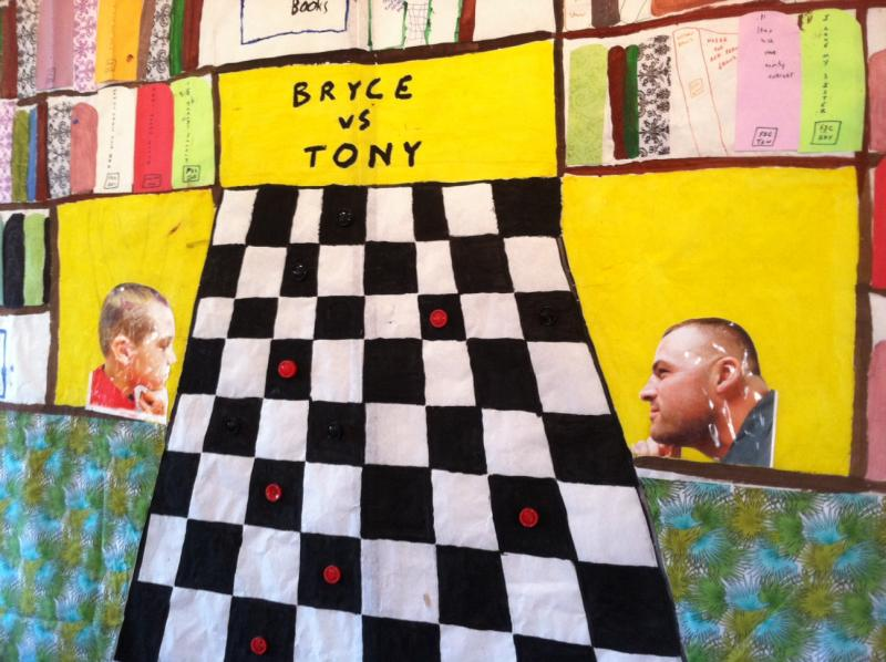 One of the murals on display at the Kimball-Jenkins Estate shows a son and his father playing checkers.