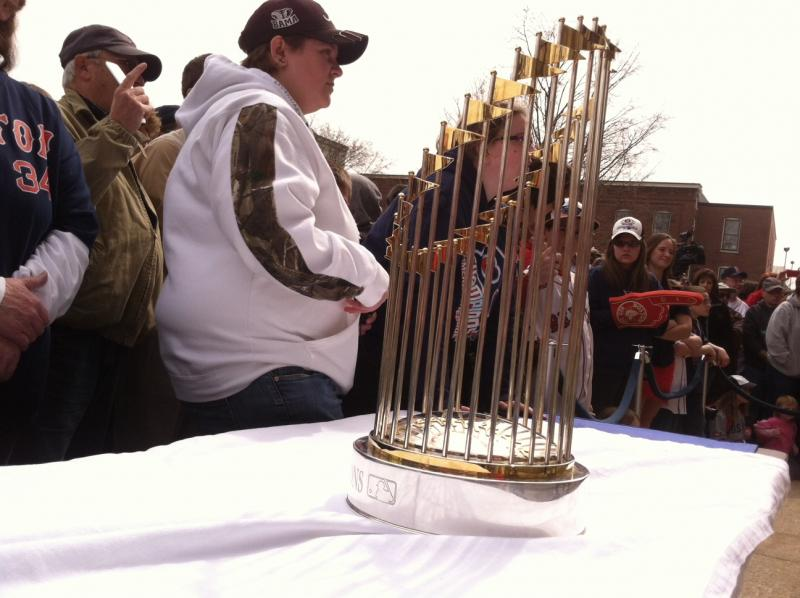 The 2013 World Series trophy was on display.