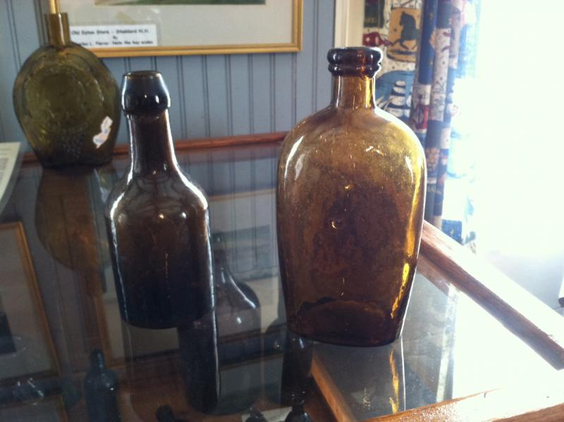 Two of the ale bottles on display at the Stoddard Historical Society.