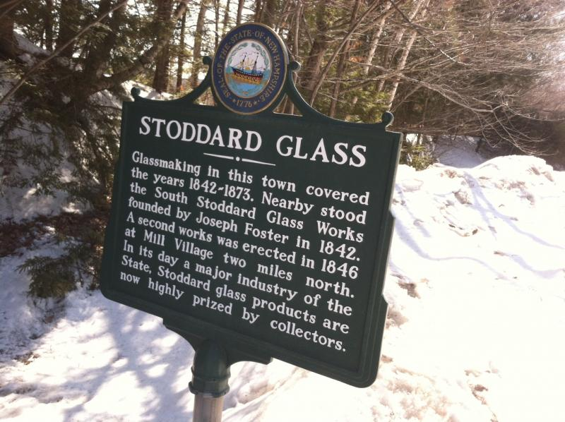 The historical marker along Route 9 in Stoddard.