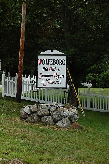 The iconic sign welcoming visitors to Wolfeboro, NH