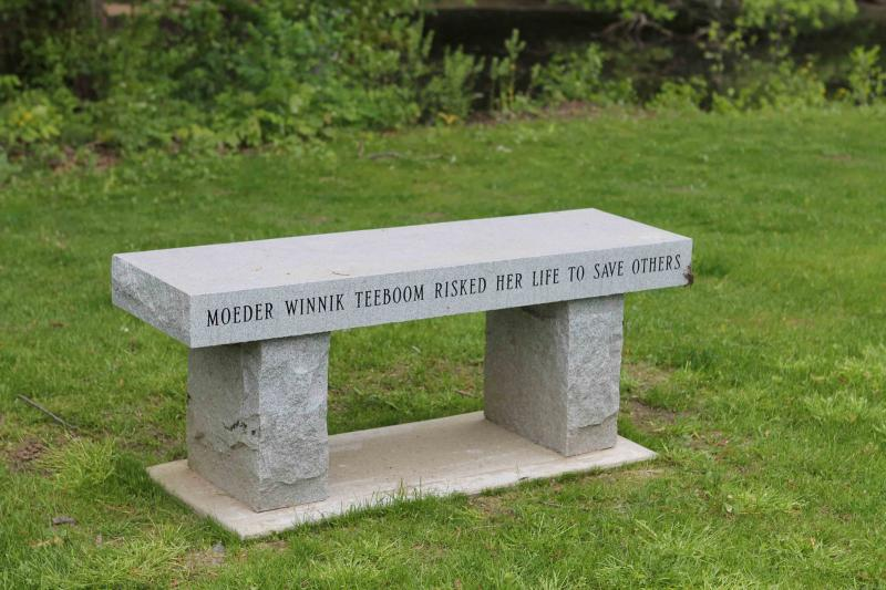 Granite bench in memory of Teeboom's mother