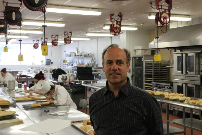 Chef Kurt Hohmeister in the Culinary Arts kitchen.