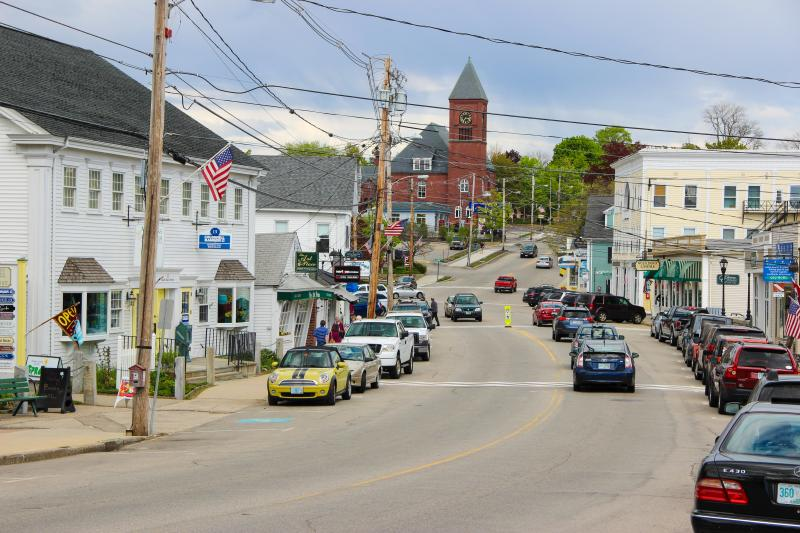 Main Street in Wolfeboro.  The town relies on summer tourism.