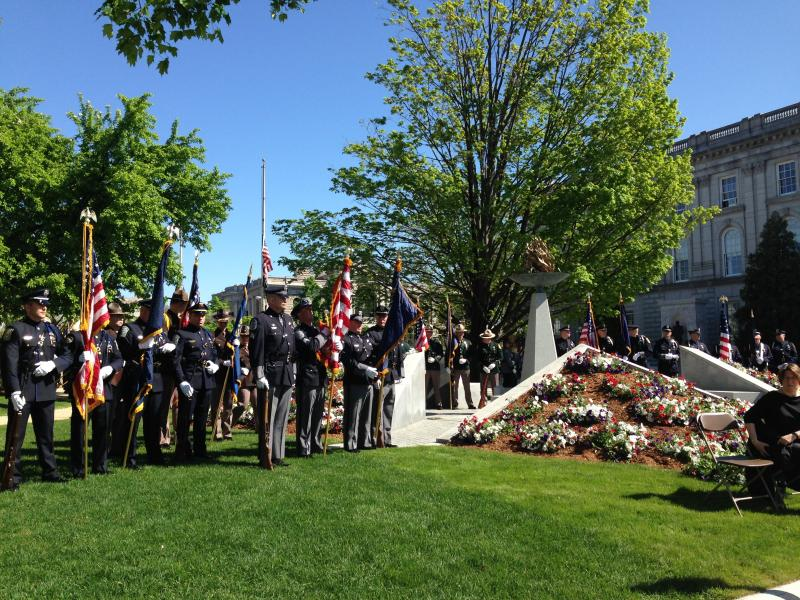 The color guard stationed next to the police memorial in Concord.