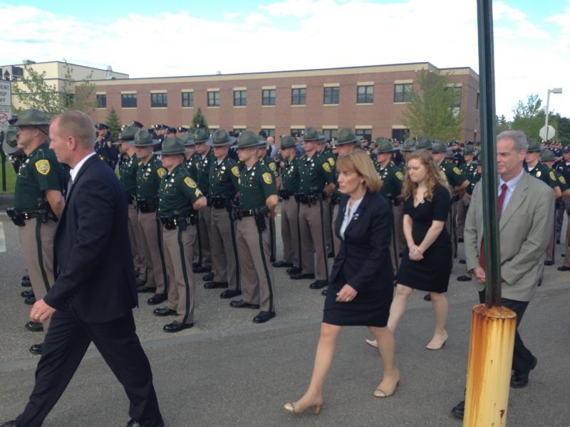 Governor Hassan thanking state police officers for attending.