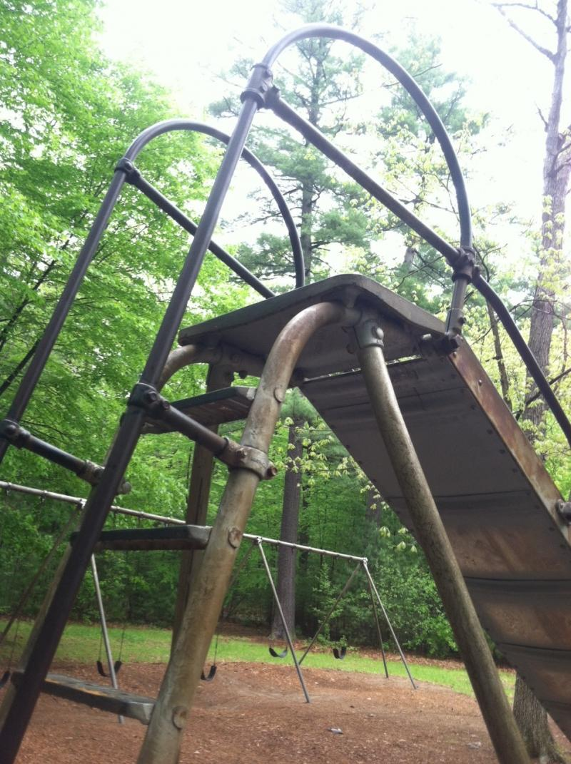 Signs of rust are visible on the slide at the Greeley Park playground.