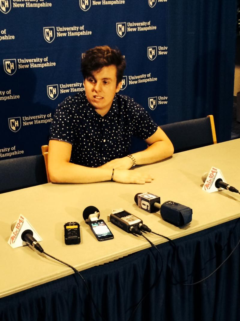 Alex Preston answers questions during a press conference at the University of New Hampshire.