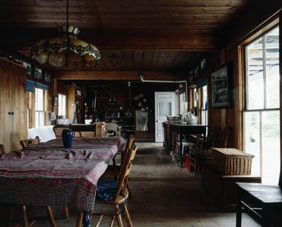 Camp Kemankeag, Rangeley Lake, Maine, main house kitchen and dining room. Builder unknown.