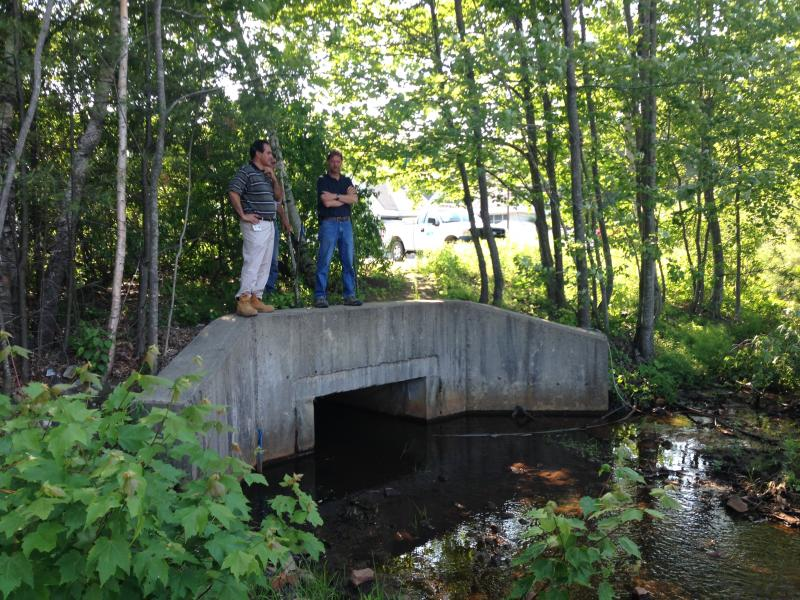 Pete Stamnas, Conrad Skov with DoT stand over the culvert that lets Dinsmore flow under the parking lot.