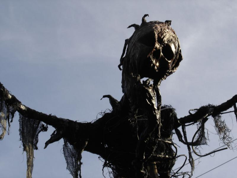 """Blight"" scarecrow from 2006 with resin skull."