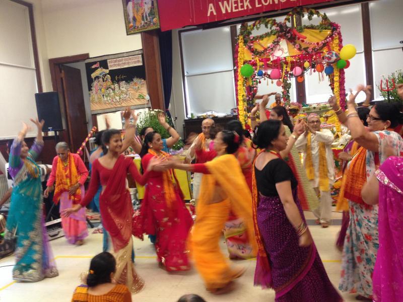 Women dancing to live music.